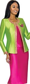 Terramina 7637-LimeFuchsia - Womens Church Suit With Embellished Trim On Jacket