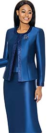 Terramina 7637-Navy - Womens Church Suit With Embellished Trim On Jacket