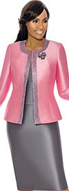 Terramina 7637-Rose - Womens Church Suit With Embellished Trim On Jacket