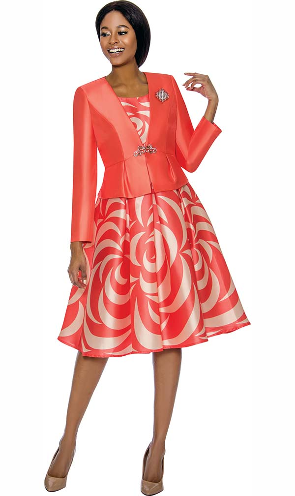 Terramina 7672-Coral - Crescent Pattern Print Pleated Dress With Solid Color Jacket