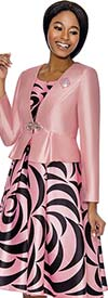 Terramina 7672-Pink - Crescent Pattern Print Pleated Dress With Solid Color Jacket