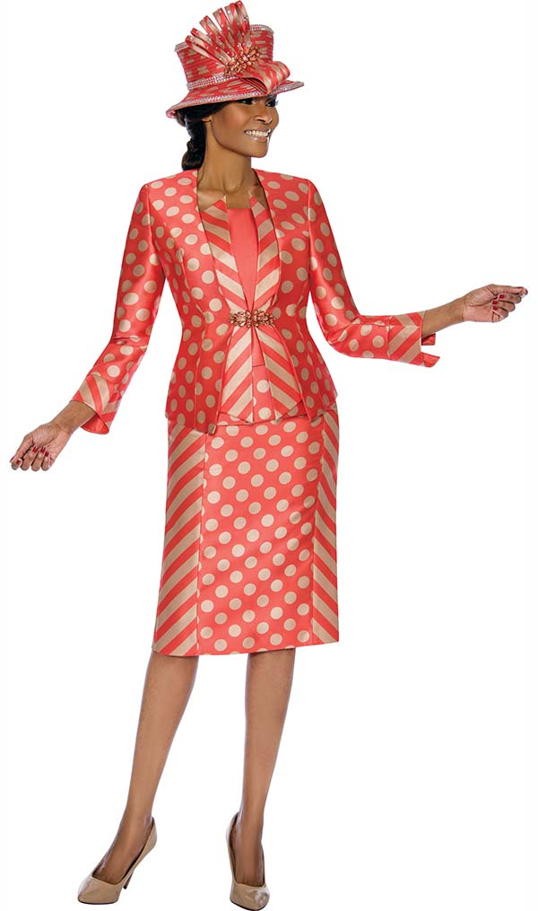 Terramina 7673 - Three Piece Skirt Set With Multi Stripe & Polka Dot Design