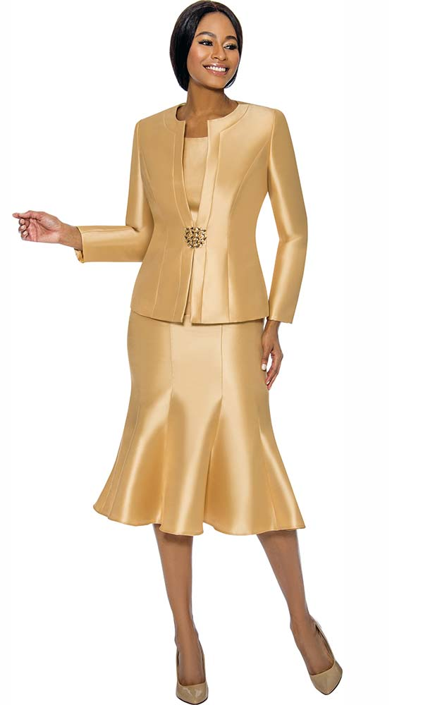Terramina 7689-Gold - Womens Classic Design Church Suit With Flared Skirt