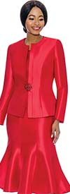 Terramina 7689-Red - Womens Classic Design Church Suit With Flared Skirt