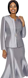 Clearance Terramina 7689-Silver - Womens Classic Design Church Suit With Flared Skirt
