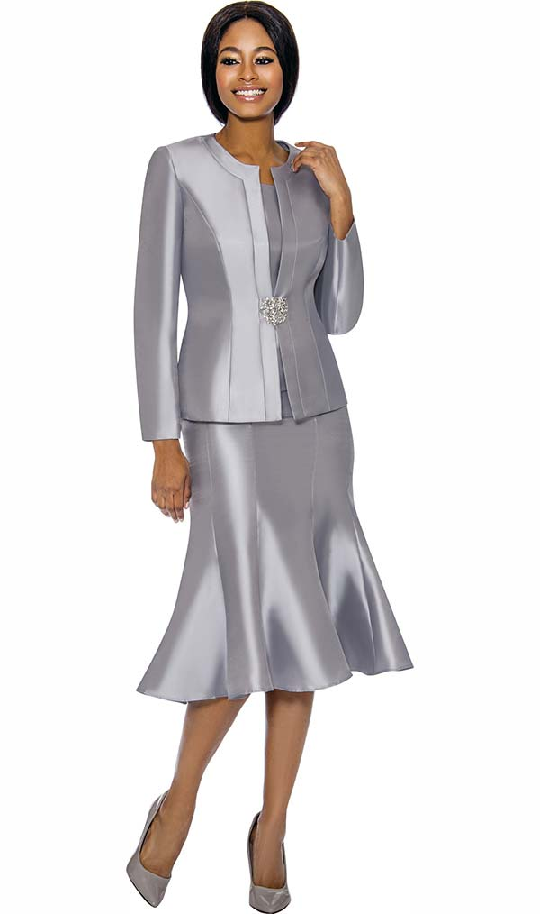 Terramina 7689-Silver - Womens Classic Design Church Suit With Flared Skirt