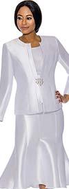 Terramina 7689-White - Womens Classic Design Church Suit With Flared Skirt
