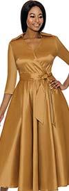 Terramina 7698-Gold - Wing Collar Vee Neckline Pleated Dress With Sash