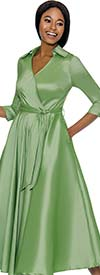 Clearance Terramina 7698-Green - Wing Collar Vee Neckline Pleated Dress With Sash