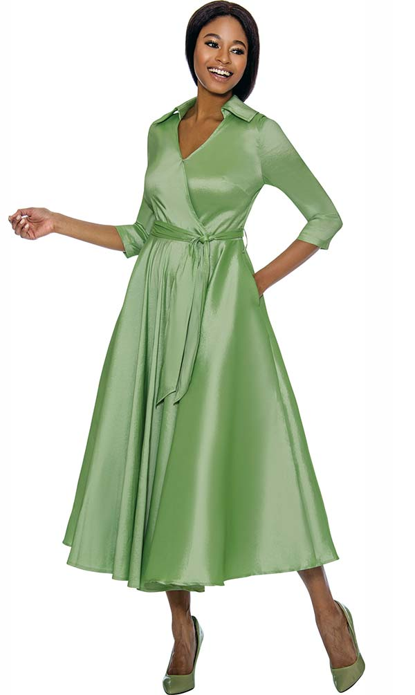 Terramina 7698-Green - Wing Collar Vee Neckline Pleated Dress With Sash