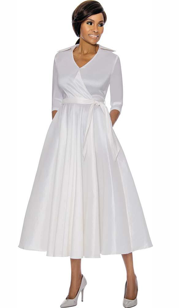 Terramina 7698-White - Wing Collar Vee Neckline Pleated Dress With Sash