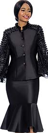 Terramina 7712-Black - Womens Suit With Flounce Hem Skirt & Ruffle Accent Trim