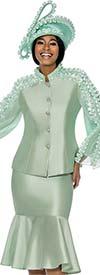 Terramina 7712-Mint - Womens Suit With Flounce Hem Skirt & Ruffle Accent Trim