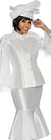 Terramina 7712-Pearl - Womens Suit With Flounce Hem Skirt & Ruffle Accent Trim