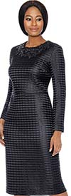 Terramina 7714-Black - Ladies Dress & Cape Set With Grid Pattern Design
