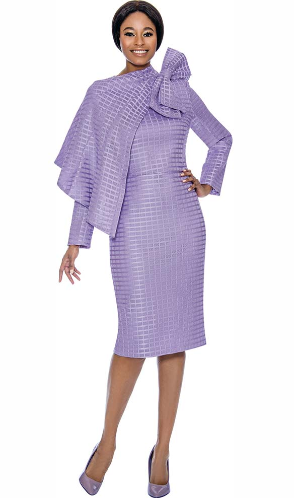 Terramina 7714-Lilac - Ladies Dress & Cape Set With Grid Pattern Design