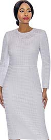 Terramina 7714-White - Ladies Dress & Cape Set With Grid Pattern Design