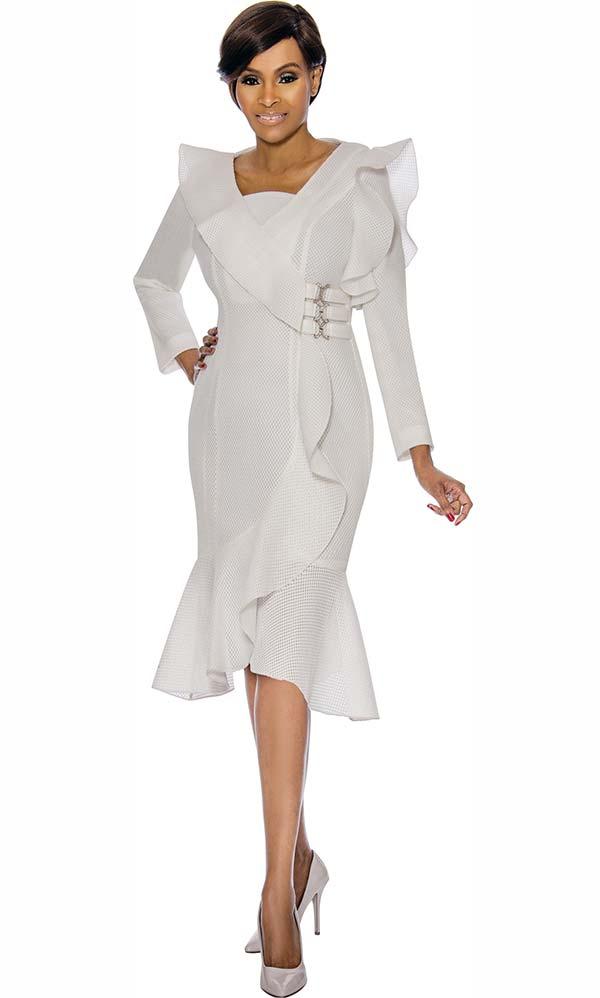 Terramina 7715 - Womens Flounced Tulip Style Dress With Ruffle Accents