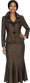 Terramina 7723-Black - Flared Skirt Suit With Layered Collar