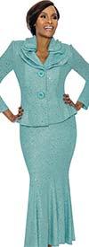 Terramina 7723-Blue - Flared Skirt Suit With Layered Collar