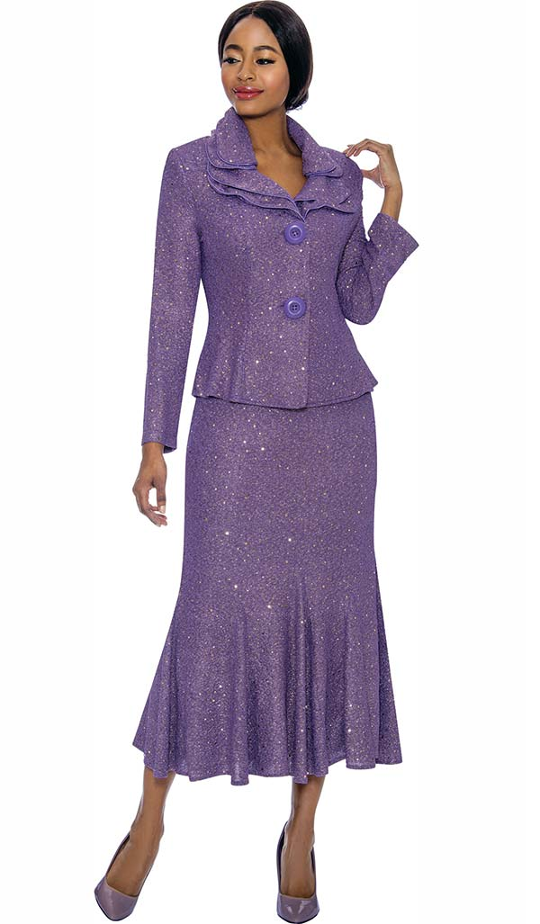 Terramina 7723-Purple - Flared Skirt Suit With Layered Collar