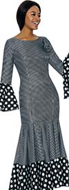 Terramina 7724 -  Polka Dot Accented Bell Cuff Dress