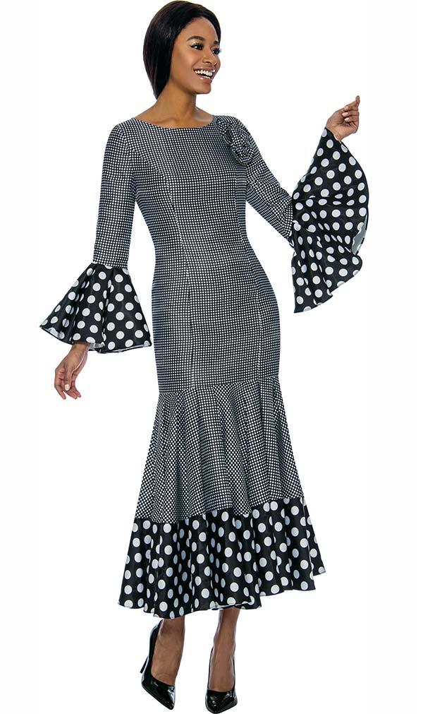 Terramina 7724 -  Polka Dot Accented Bell Cuff Dress