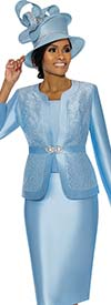 Terramina 7726-Blue - Womens Skirt Suit With Brocade Style Inset Design Jacket
