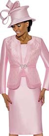 Terramina 7726-Pink - Womens Skirt Suit With Brocade Style Inset Design Jacket