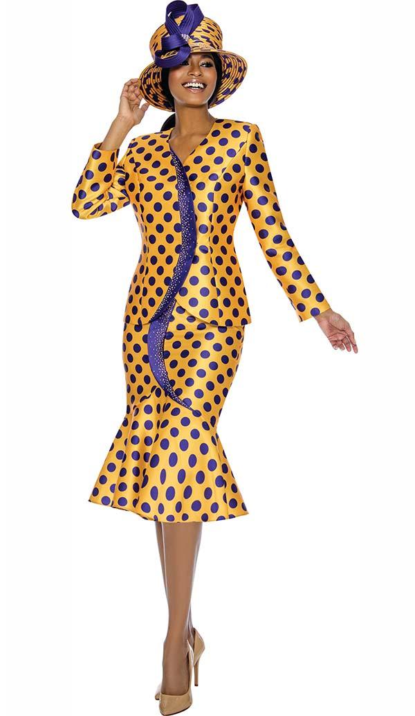 Terramina 7727 - Polka Dot Print Flounce Skirt Set With Embellished Trim