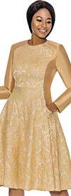 Terramina 7729-Gold - Brocade Style Design A-Line Dress With Pockets