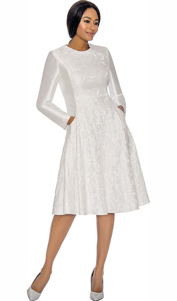 Terramina 7729-Pearl - Brocade Style Design A-Line Dress With Pockets