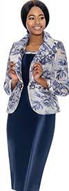 Terramina 7731 - Womens Dress Set With Floral Print Shawl Lapel Jacket