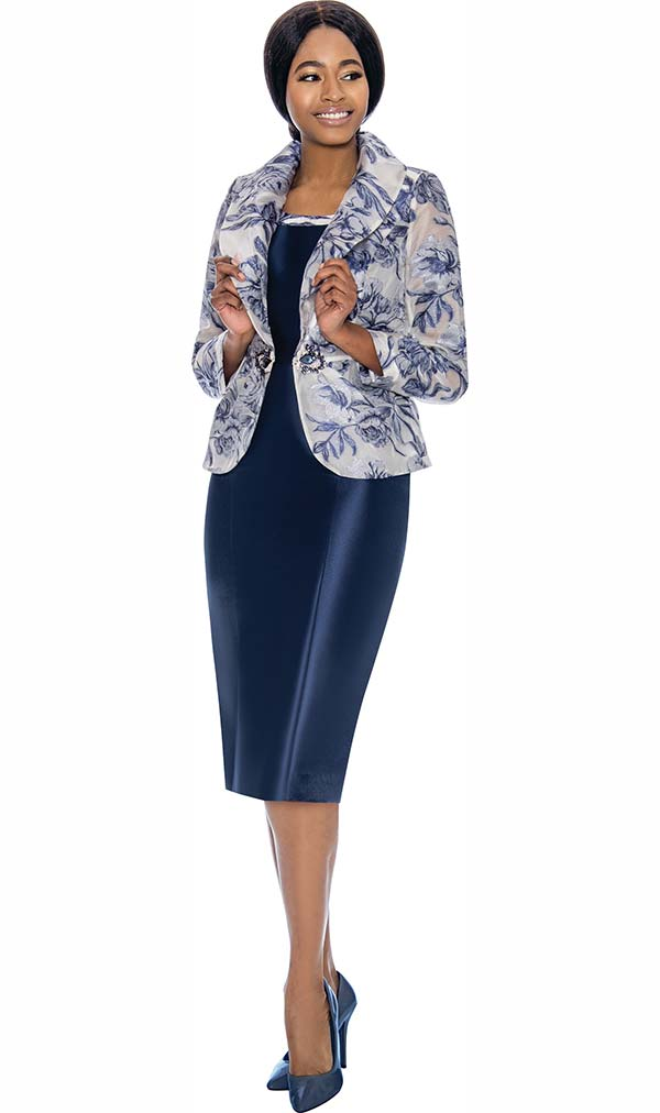 Terramina 7731 - Womens Dress Set With Floral Print Shawl Lapel Jacket