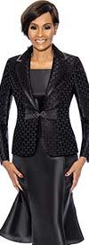 Terramina 7734-Black - Flared Skirt Set With Grid Pattern Rounded Notch Lapel Jacket