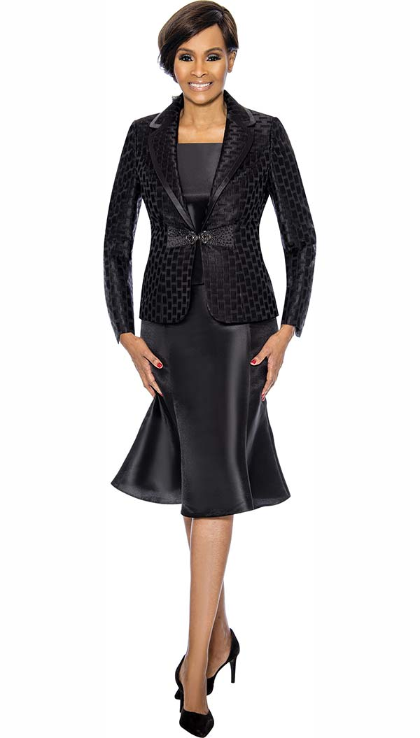 Terramina 7734-Black - Flared Skirt Set With Grid Pattern Rounded Notch Lapel Jacket