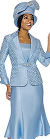 Terramina 7734-Blue - Flared Skirt Set With Grid Pattern Rounded Notch Lapel Jacket