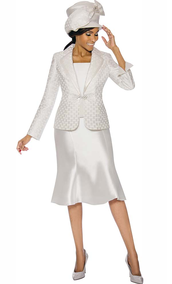 Terramina 7734-Off White - Flared Skirt Set With Grid Pattern Rounded Notch Lapel Jacket