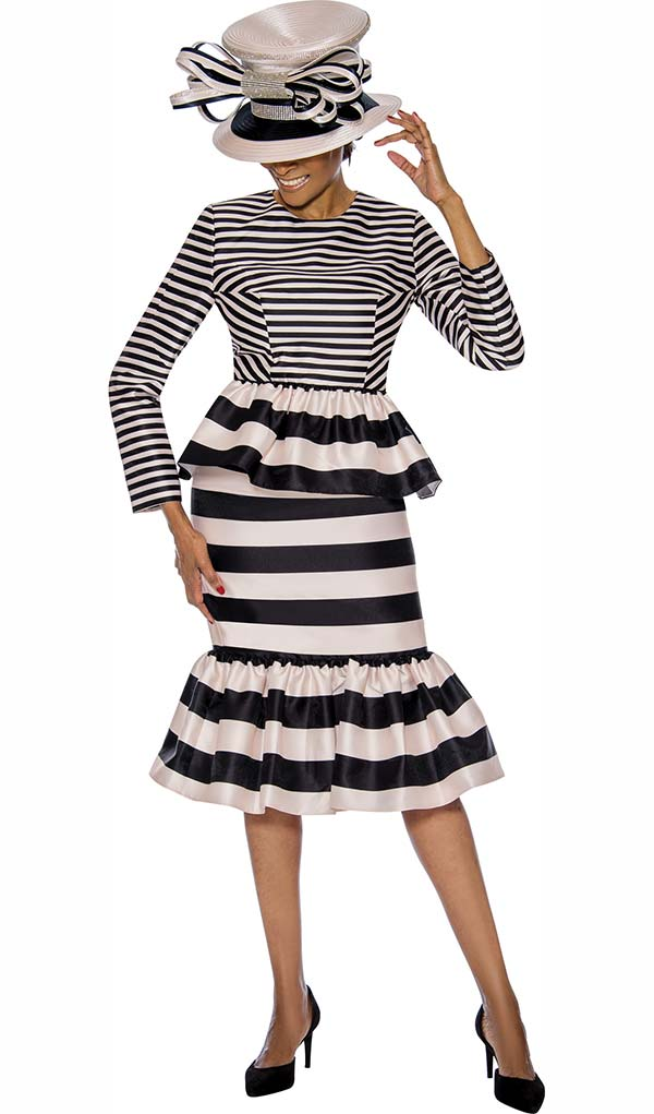 Terramina 7735 - Pleated Double Flounce Skirt Set With Multi Stripe Design