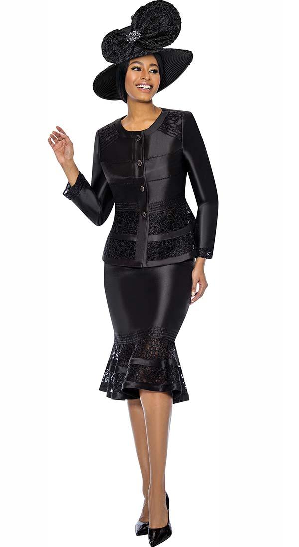 Terramina 7736-Black - Womens Flounce Skirt Set With Intricate Lace Inset Design