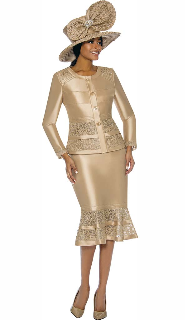 Terramina 7736-Gold - Womens Flounce Skirt Set With Intricate Lace Inset Design