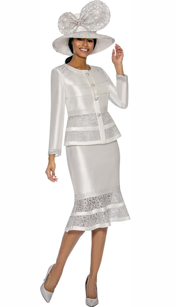 Terramina 7736-Off White - Womens Flounce Skirt Set With Intricate Lace Inset Design