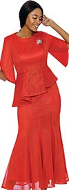 Terramina 7737-Orange - Womens Flared Skirt Suit With Asymmetric Style Peplum Top
