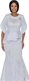 Terramina 7737-White - Womens Flared Skirt Suit With Asymmetric Style Peplum Top