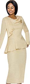 Terramina 7738 - Cowl Neckline Womens Skirt Set With Brooch
