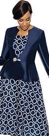 Terramina 7740-Navy - Dress & Jacket Set With Circle Pattern Print
