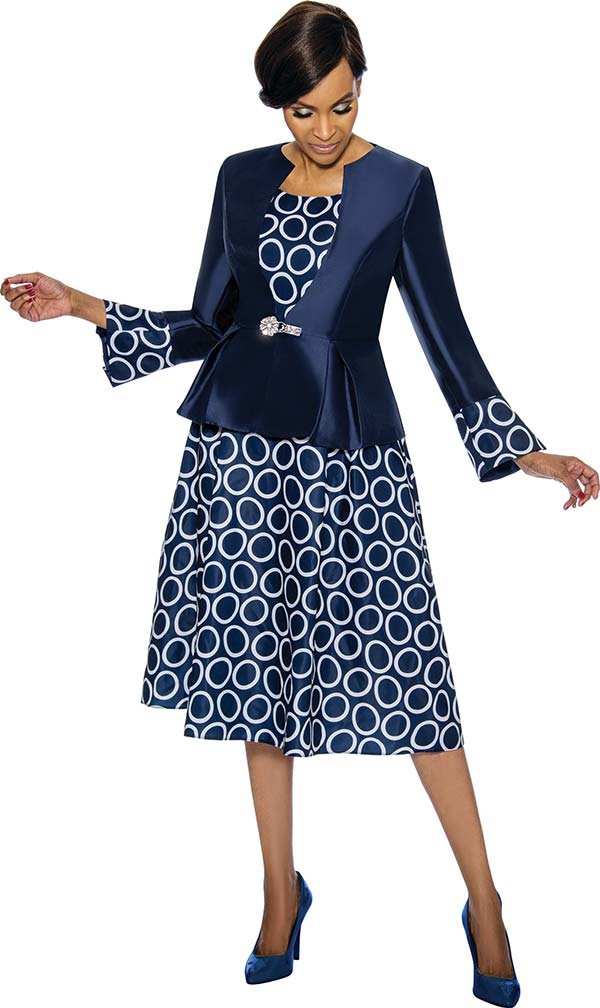 Terramina 7740-Navy - Dress & Jacket Set With Circle Pattern Print