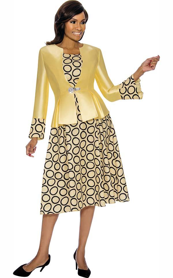 Terramina 7740-Yellow - Dress & Jacket Set With Circle Pattern Print
