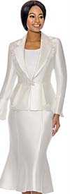 Terramina 7741-White - Womens Flared Skirt Suit With Floral Applique Detail