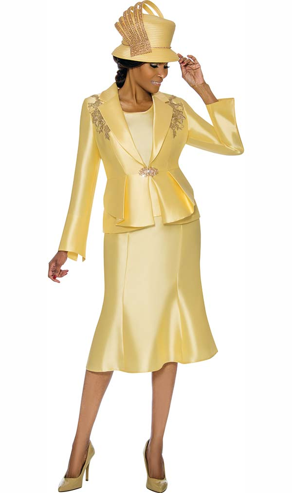 Terramina 7741-Canary - Womens Flared Skirt Suit With Floral Applique Detail